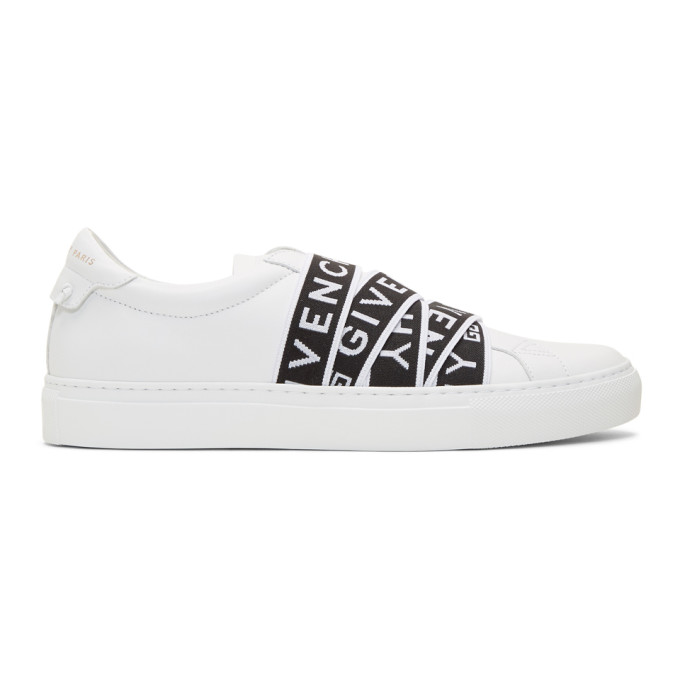 Givenchy White & Black 4G Webbing Urban Street Sneakers In 116 White/B