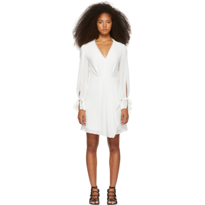 3.1 Phillip Lim White Crepe V Neck Dress