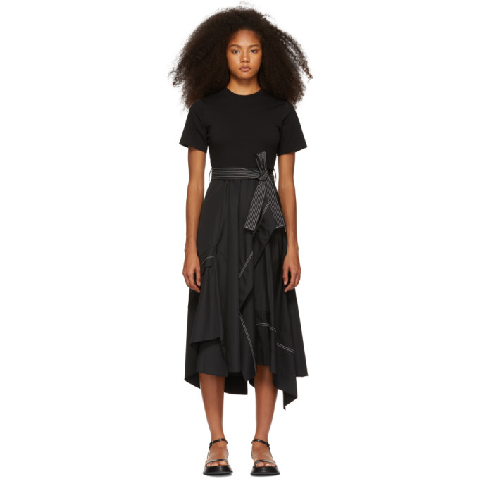 3.1 Phillip Lim Black Poplin Combo T Shirt Dress