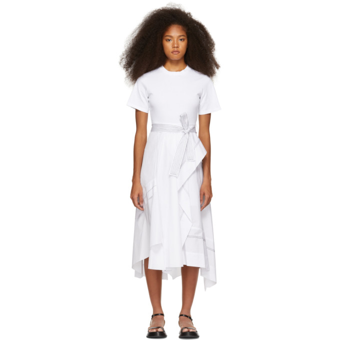 3.1 Phillip Lim White Poplin Combo T Shirt Dress