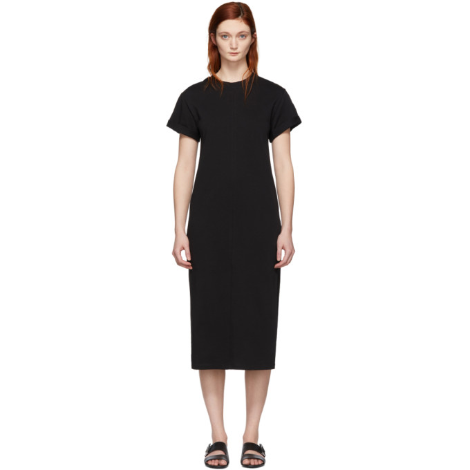 3.1 Phillip Lim Black Shoulder Slit T Shirt Dress