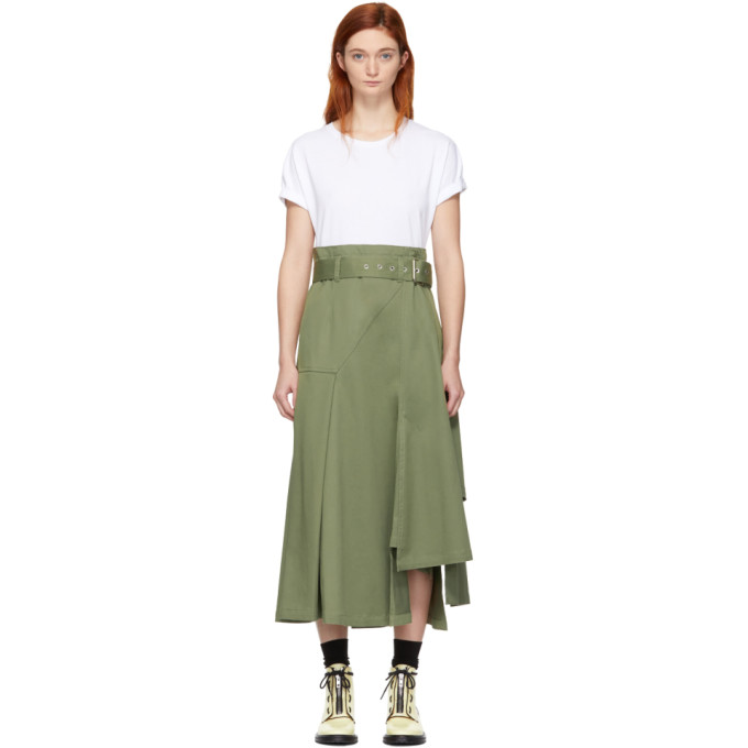 31 Phillip Lim White and Khaki Jersey T Shirt Dress