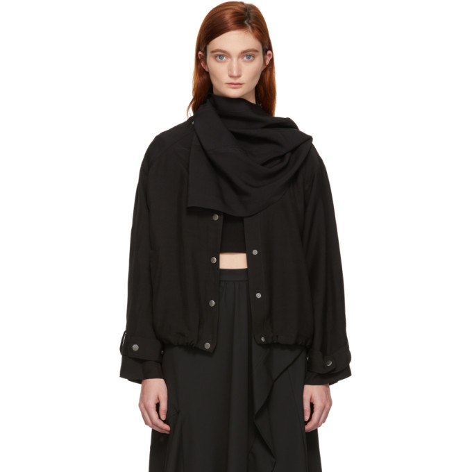 31 Phillip Lim Black Sateen Removable Scarf Jacket