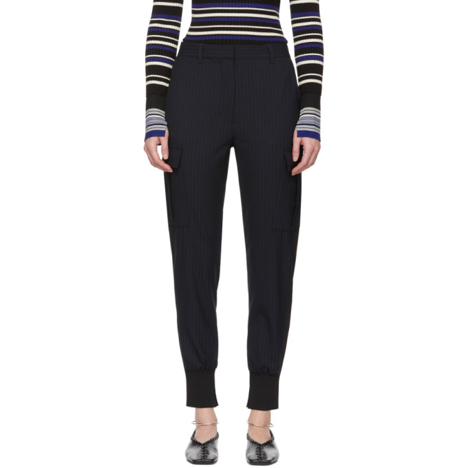 31 Phillip Lim Navy Pinstripe Cargo Jogger Trousers