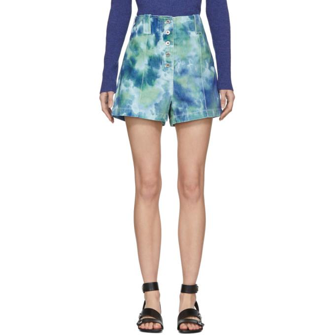 31 Phillip Lim Blue Green Denim Tie Dye Cargo Shorts