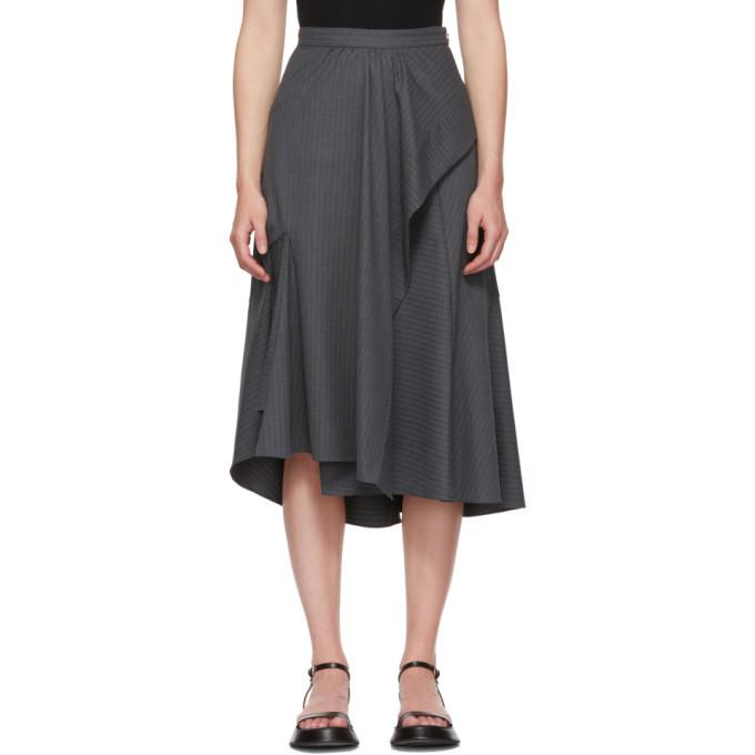 31 Phillip Lim Grey Pinstripe Side Ruffle Skirt