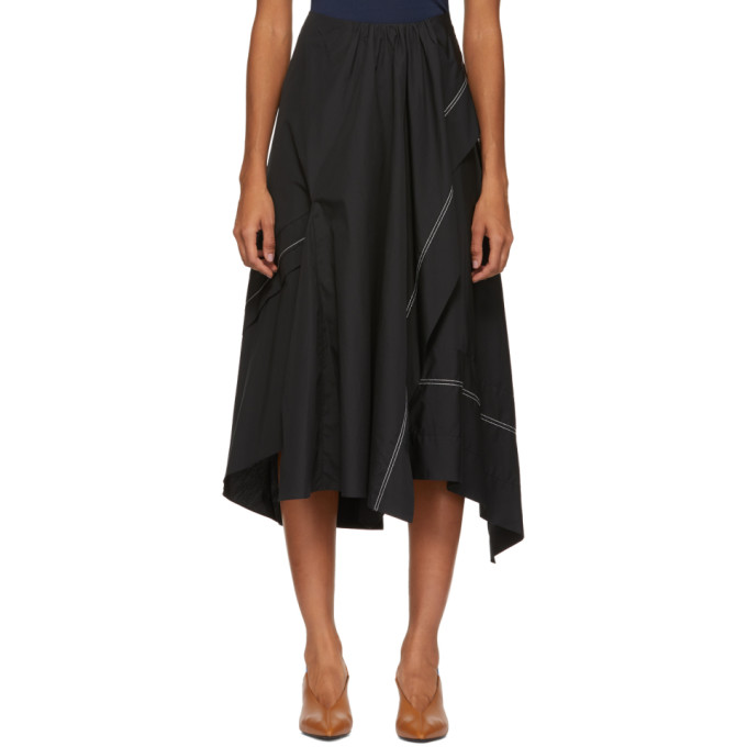 31 Phillip Lim Black Poplin Slit Flare Skirt
