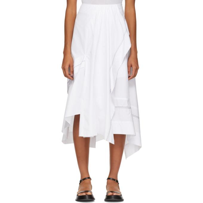 3.1 Phillip Lim White Poplin Slit Flare Skirt