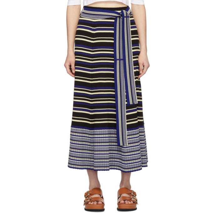 31 Phillip Lim Blue Silk Multi Stripe Skirt