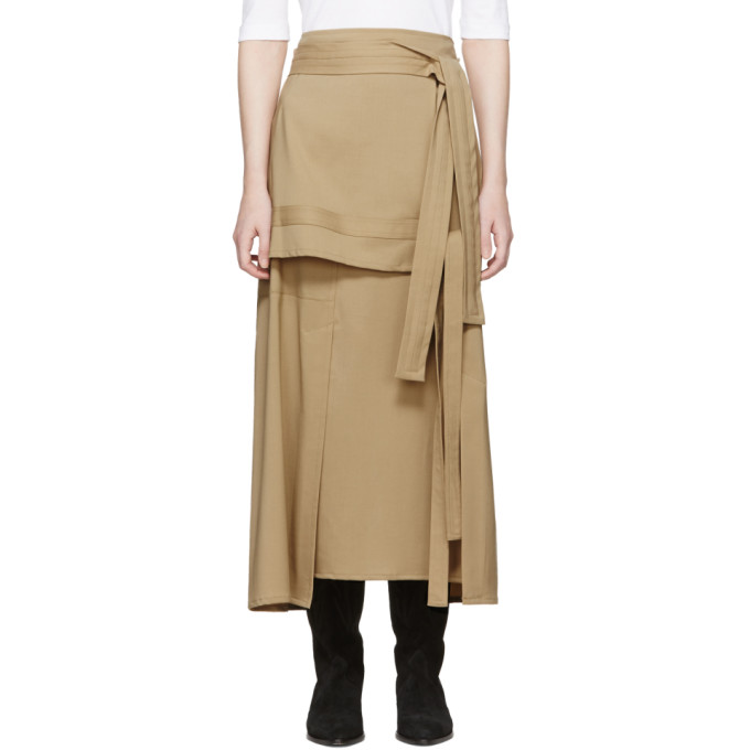 Image of 3.1 Phillip Lim Beige Wool Patchwork Skirt