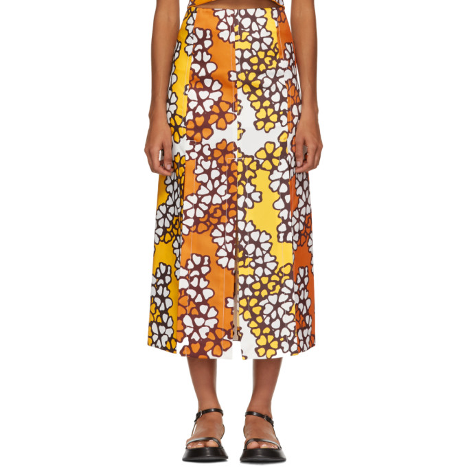3.1 Phillip Lim Orange Floral Multi Slit Skirt