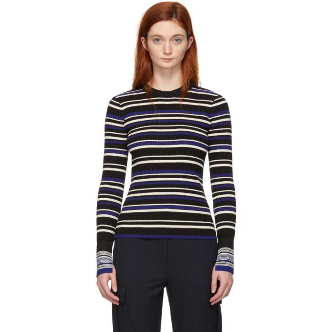 31 Phillip Lim Blue and Black Multi Stripe Pullover
