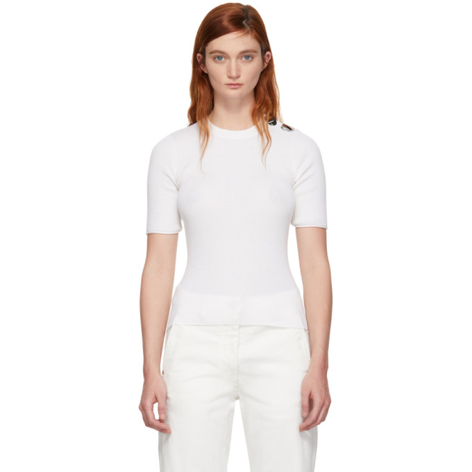 31 Phillip Lim White Button Short Sleeve Sweater