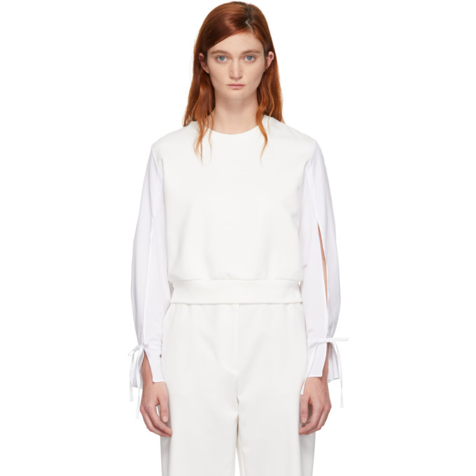 31 Phillip Lim Off White Cropped Poplin Sleeves Sweatshirt