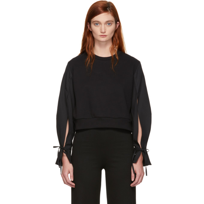 31 Phillip Lim Black Cropped Poplin Sleeves Sweatshirt