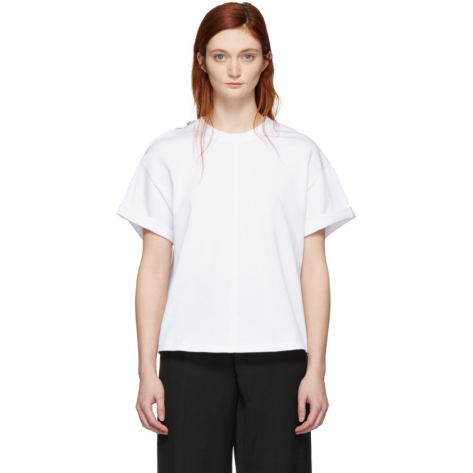 3.1 Phillip Lim White Shoulder Slit T Shirt