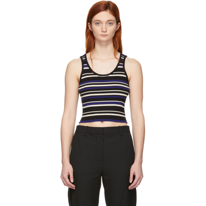 31 Phillip Lim Black Blue Multi Stripe Cropped Tank Top