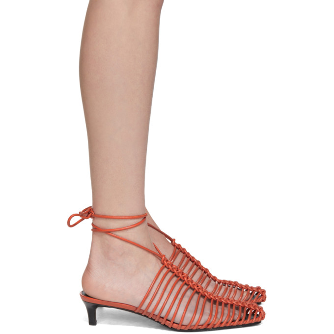 3.1 Phillip Lim Red Sabrina Strappy Cage Mules