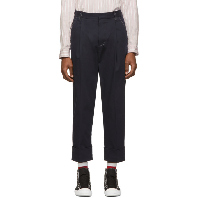 31 Phillip Lim Navy Wide Cuff Single Pleat Trousers