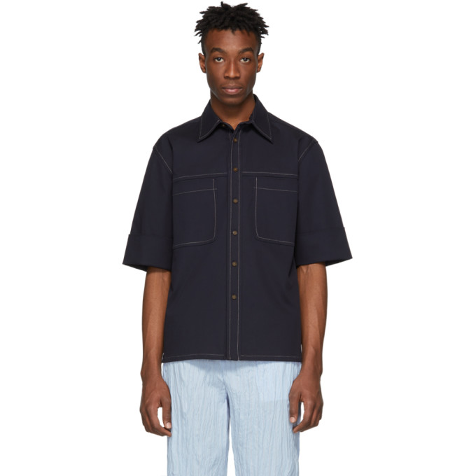 31 Phillip Lim Navy Wide Cuff Boxy Shirt