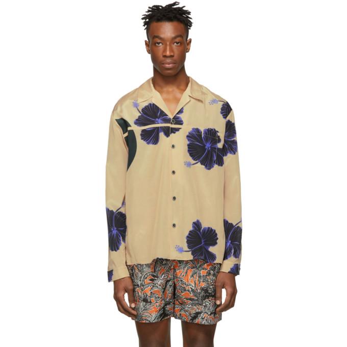 Image of 3.1 Phillip Lim Beige & Blue Hibiscus Floral Souvenir Shirt