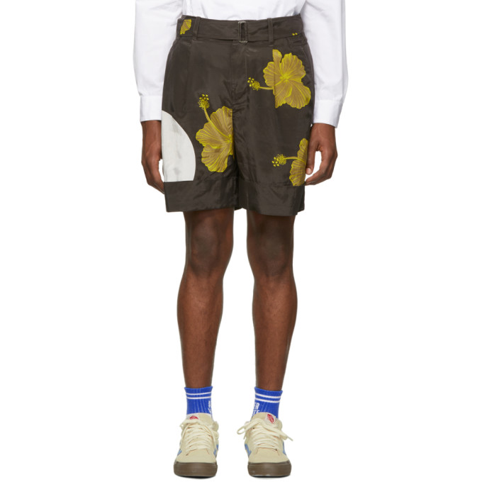 31 Phillip Lim Brown Yellow Twist Belt Hibiscus Floral Shorts