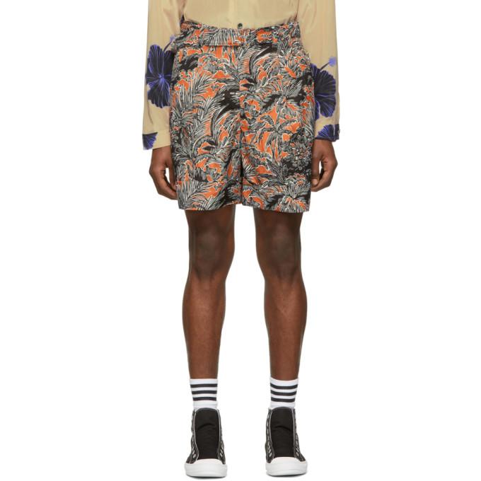 31 Phillip Lim Orange Black Twist Belt Palm Tree Floral Shorts