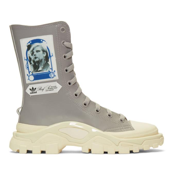 Raf Simons Grey & White adidas Originals Edition Detroit High Boots
