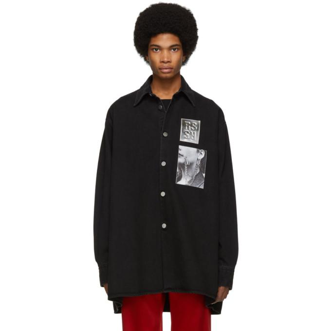 5c4fcdaa4634 Raf Simons Black Denim Oversized Patches Shirt