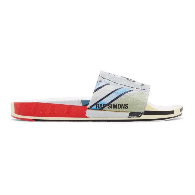 Raf Simons + Adidas Originals Adilette Printed Textured-rubber Slides In White