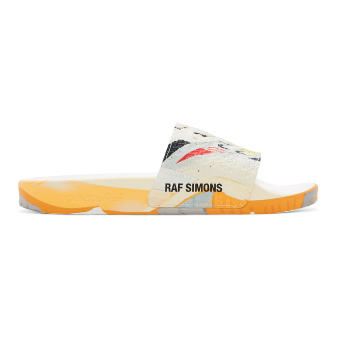 Raf Simons White Adidas Originals Edition Torsion Adilette Slides In 01099 Whblk