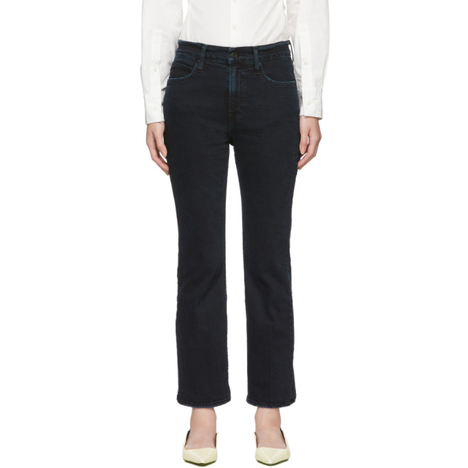 Black Cropped Flared Jeans in 00206 Stone