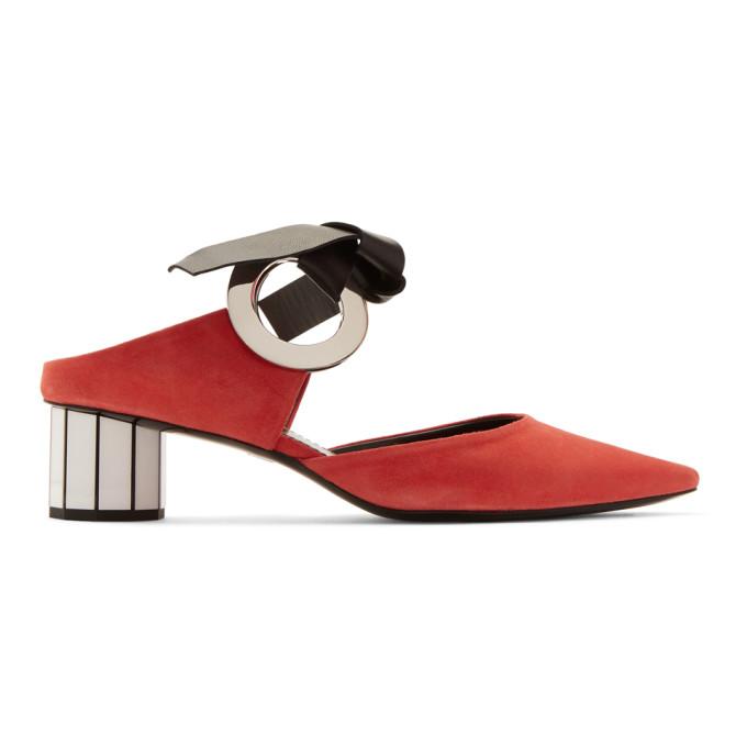 Proenza Schouler Red Grommet Mules