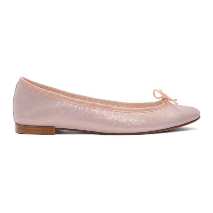 Repetto Pink Metallic Suede Cendrillon Ballerina Flats