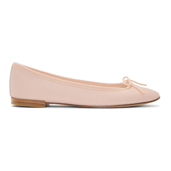 REPETTO   Repetto Pink Leather Cendrillon Ballerina Flats   Goxip