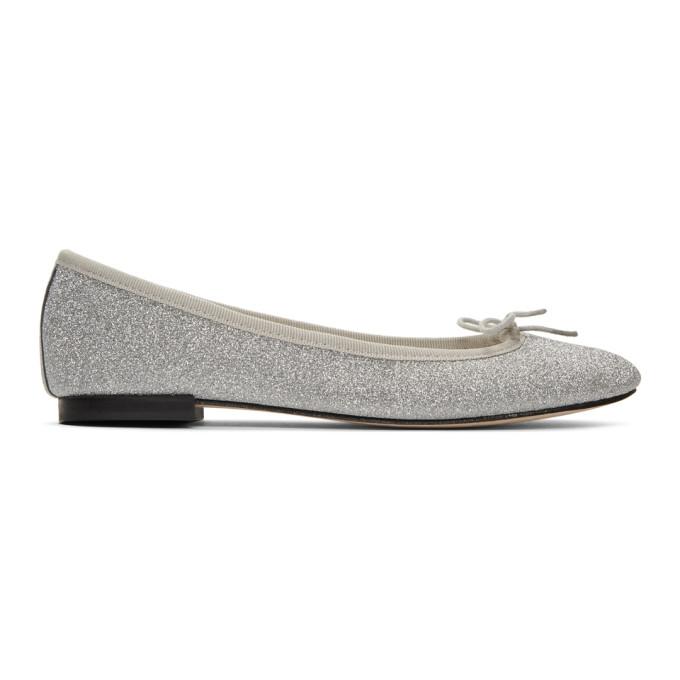 REPETTO   Repetto Silver Glitter Cendrillon Ballerina Flats   Goxip