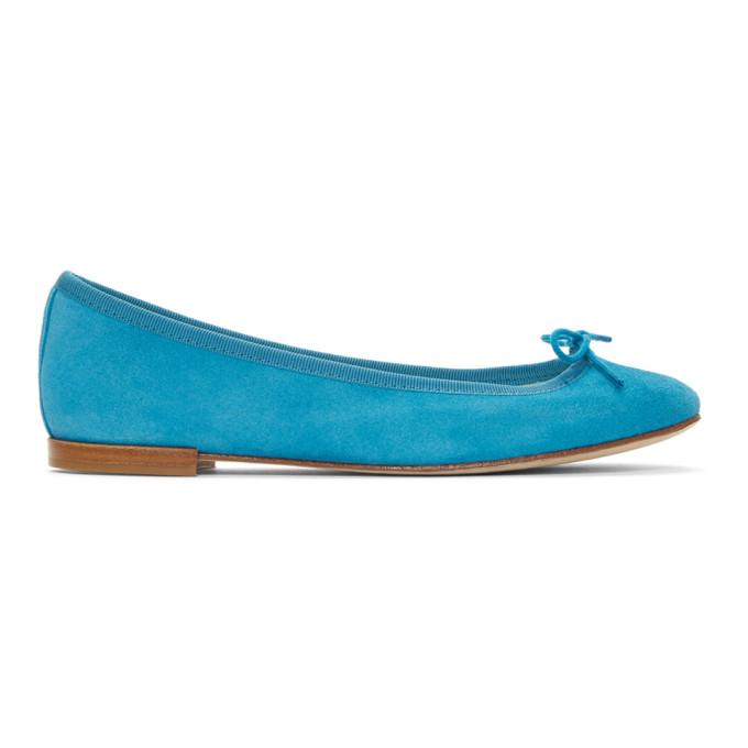 REPETTO   Repetto Blue Suede Cendrillon Ballerina Flats   Goxip