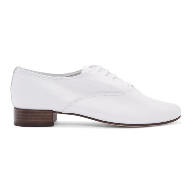 Repetto White Leather Zizi Oxfords