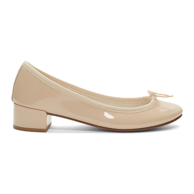 Image of Repetto Beige Patent Camille Ballerina Heels