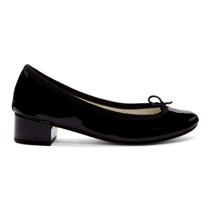 Image of Repetto Black Patent Camille Ballerina Heels