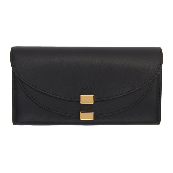 Chloe Black Georgia Long Wallet in 001 Black