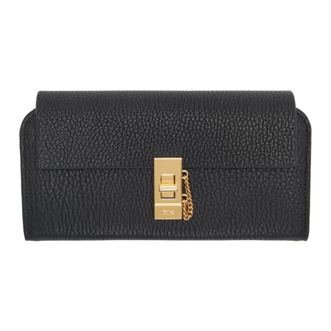 Chloe Black Drew Flap Long Wallet in 001 Black