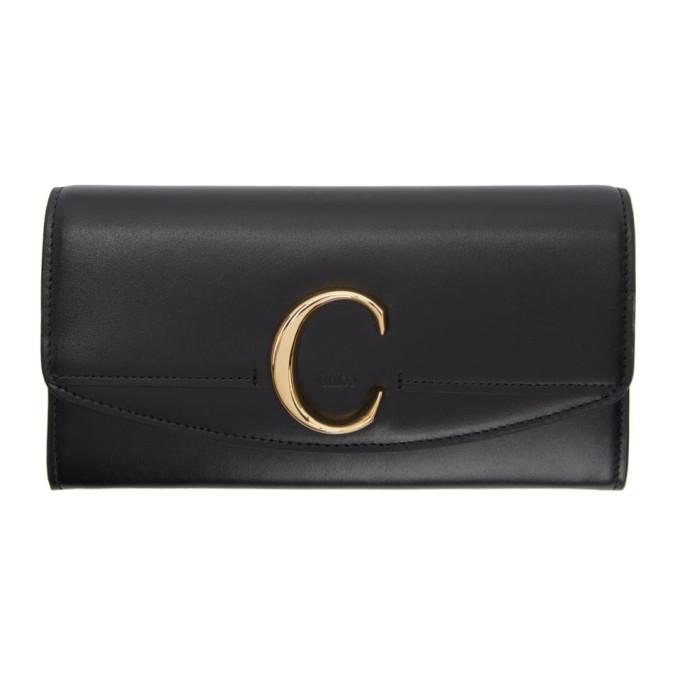 Chloe Black Long C Wallet in 001 Black