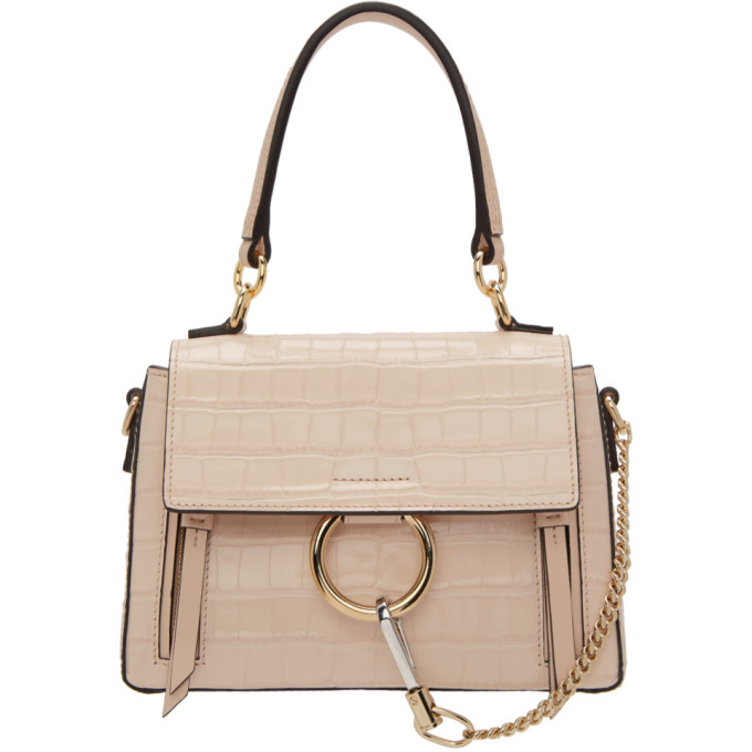CHLOÉ | Chloe Pink Croc Mini Faye Day Bag | Goxip