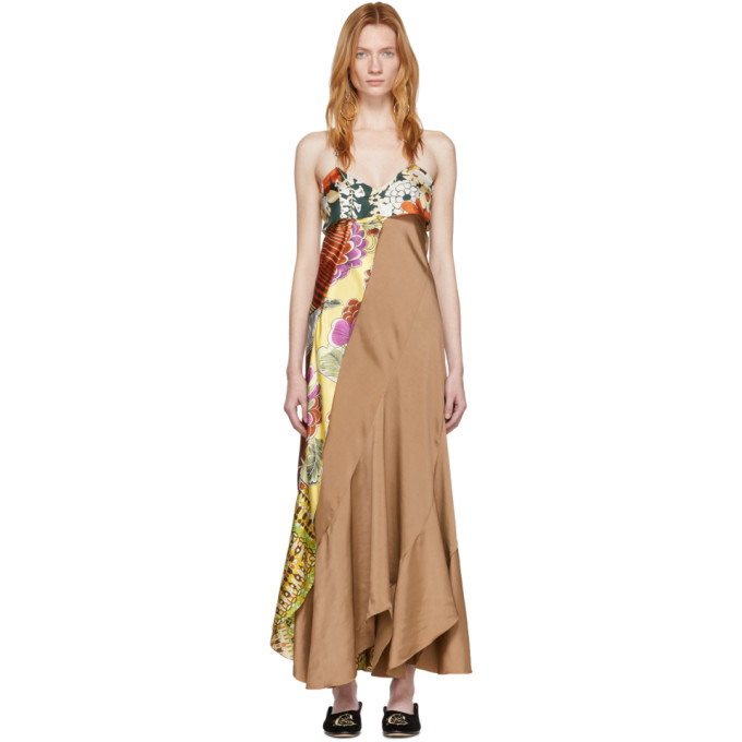 Chloe Brown and Multicolor Scarf Detail Dress