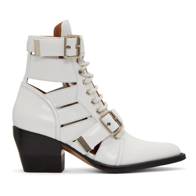 Chloé White Rylee Medium Boots
