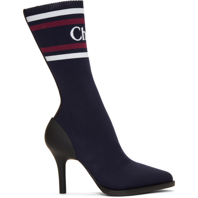 Chloe Navy Tracy Sock Boots in 43C Navyink