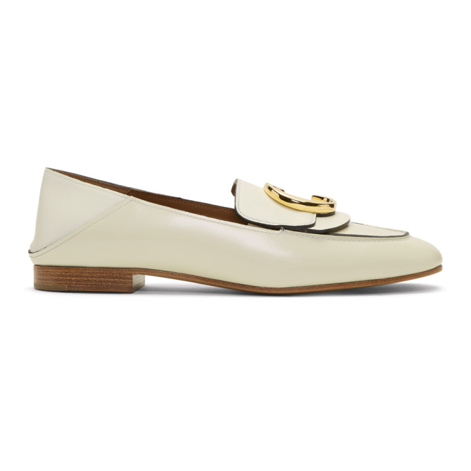 Chloé White 'Chloé C' Convertible Loafers