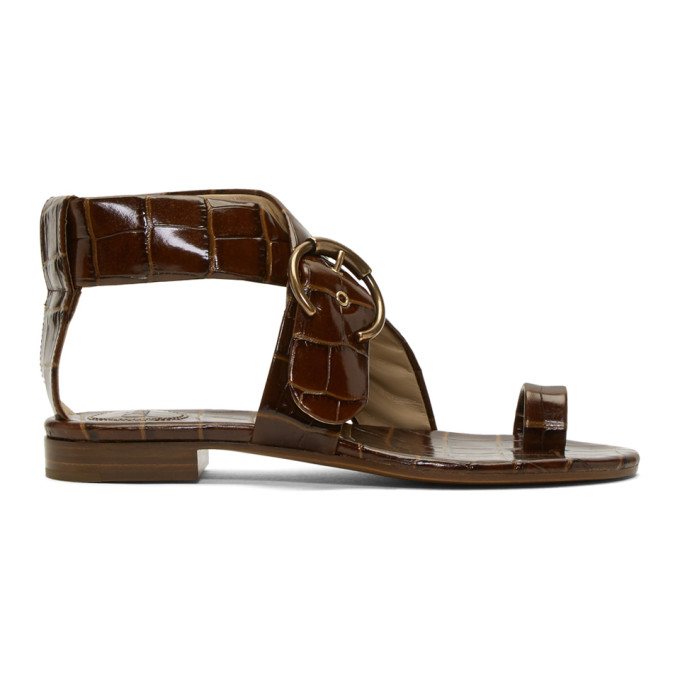 Chloe Tan Croc Flat Sandals