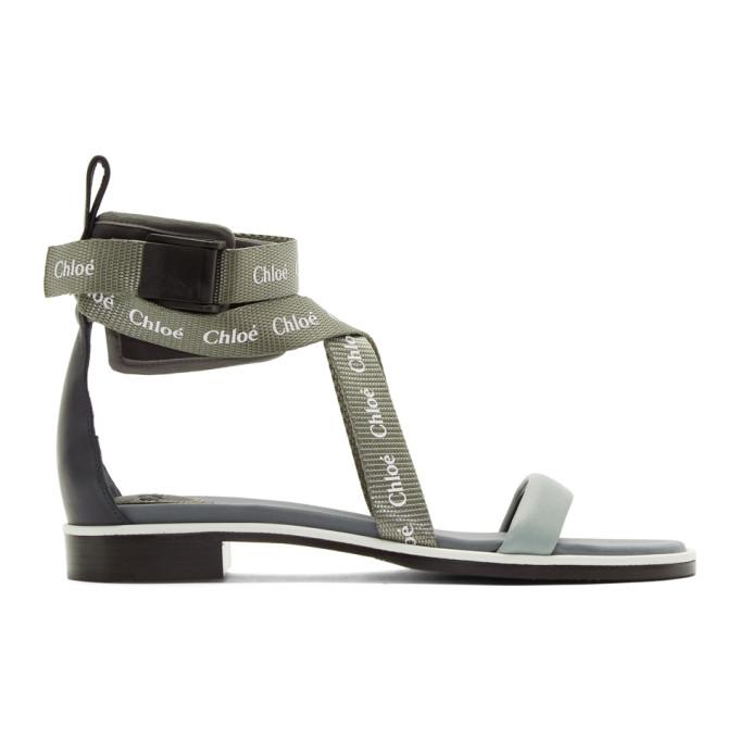 Chloé Grey & Green Veronica Sandals